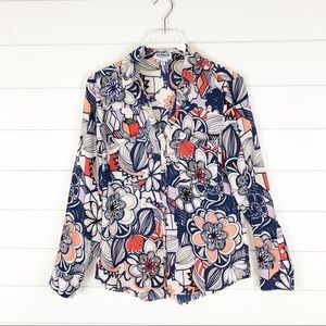 Express Portifino Button Down Graphic Floral Top
